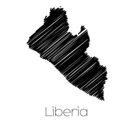 jot: A Scribbled Map of the country of  Liberia Stock Photo