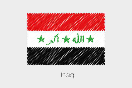garabatos: A Scribbled Flag Illustration of the country of Iraq Foto de archivo