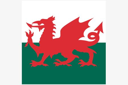 wales: A Square Flag Illustration of the country of Wales