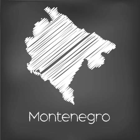 scribbled: A Scribbled Map of the country of Montenegro Stock Photo