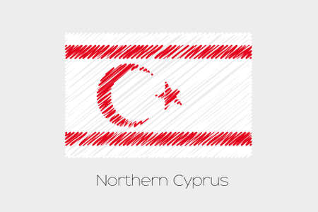 jot: A Scribbled Flag Illustration of the country of Northern Cyprus