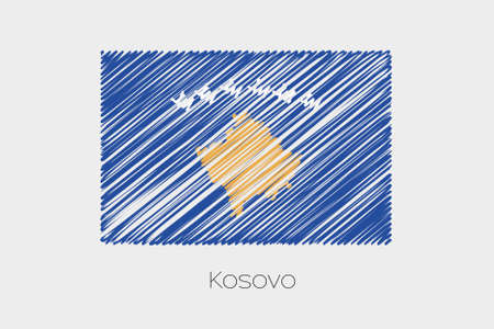 garabatos: A Scribbled Flag Illustration of the country of Kosovo Foto de archivo