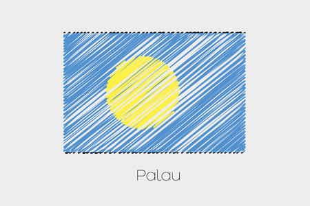garabatos: A Scribbled Flag Illustration of the country of Palau Foto de archivo