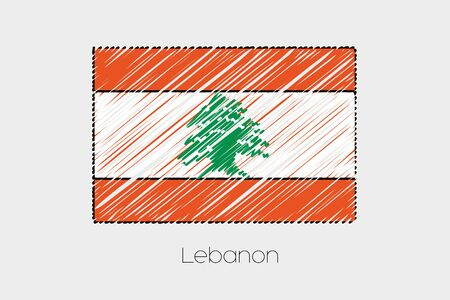 scribbled: A Scribbled Flag Illustration of the country of Lebanon