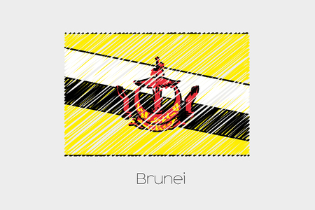 jot: A Scribbled Flag Illustration of the country of Brunei Stock Photo