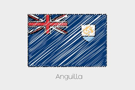 anguilla: A Scribbled Flag Illustration of the country of Anguilla Stock Photo