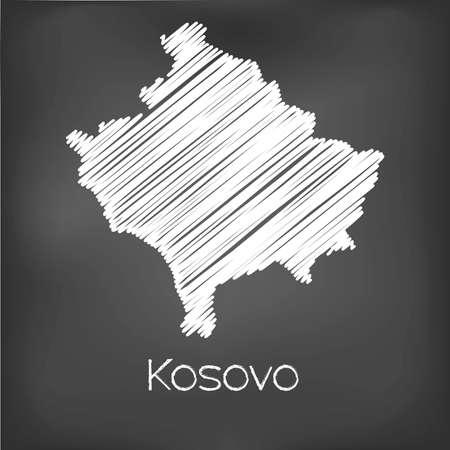 garabatos: Un Scribbled Mapa del pa�s de Kosovo