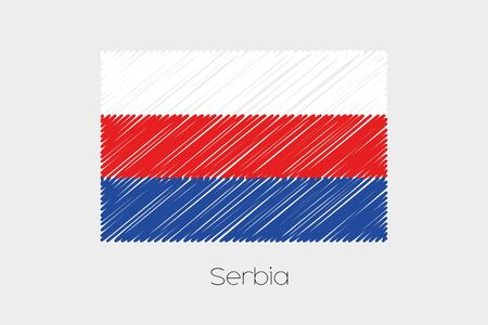 garabatos: Una ilustraci�n de la bandera garabateado del pa�s de Serbia