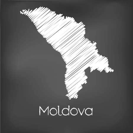 garabatos: Un Scribbled Mapa del país de Moldova Foto de archivo