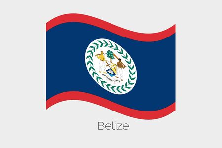 belize: A 3D Isometric Flag Illustration of the country of  Belize