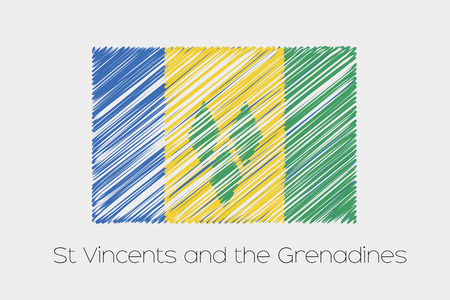 grenadines: A Scribbled Flag Illustration of the country of Saint Vincents and the Grenadines