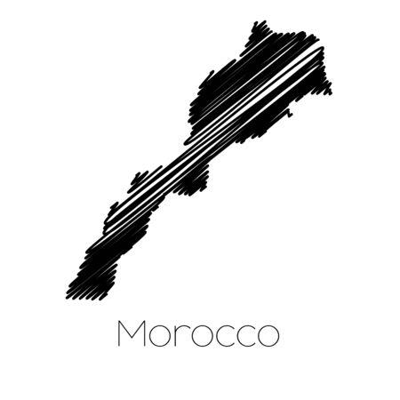 garabatos: Un Scribbled Mapa del pa�s de Marruecos Foto de archivo