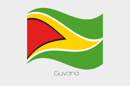 guyana: A 3D Waving Flag Illustration of the country of  Guyana