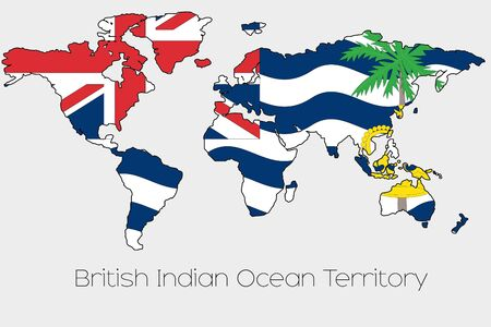 indian ocean: A Flag Illustration inside the shape of a world map of the country of  British Indian Ocean Territory