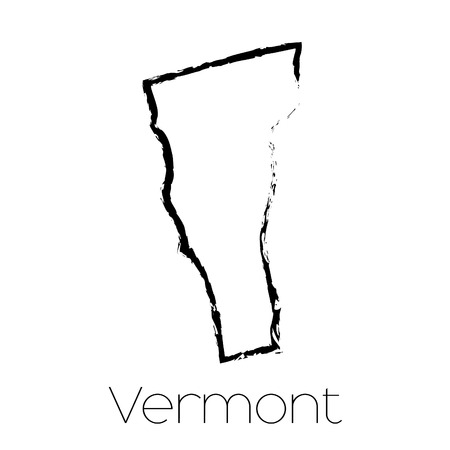 scribbled: A Scribbled shape of the State of Vermont Stock Photo