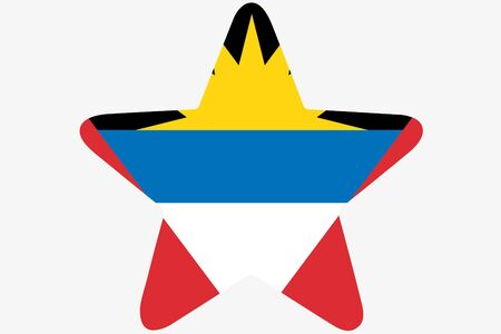 barbuda: A Flag Illustration inside a star of the country of Antigua and Barbuda