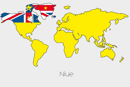niue: A Flag Illustration inside the shape of a world map of the country of  Niue Stock Photo