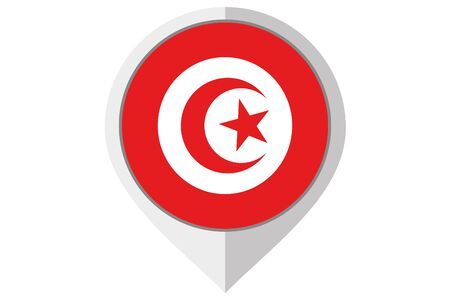 A Flag Illustration inside a pointed of the country of Tunisia