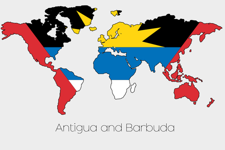 barbuda: A Flag Illustration inside the shape of a world map of the country of  Antigua and Barbuda
