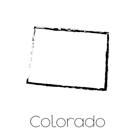 state of colorado: A Scribbled shape of the State of Colorado Stock Photo