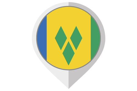 grenadines: A Flag Illustration inside a pointed of the country of Saint Vincents and the Grenadines Stock Photo
