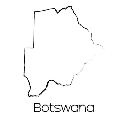 scribbled: A Scribbled Shape of the Country of Botswana Stock Photo