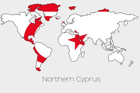 A Flag Illustration inside the shape of a world map of the country of  Northern Cyprus Stock Photo