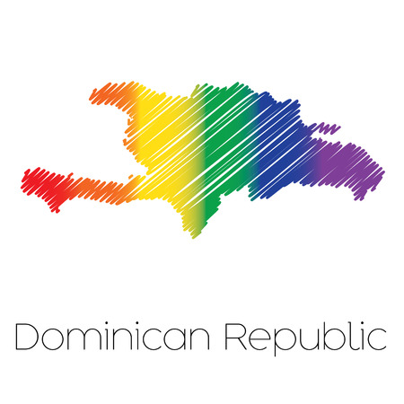 homosexual sex: An LGBT Coloured Scribbled Shape of the Country of Dominican Republic Stock Photo