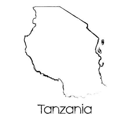 scribbled: A Scribbled Shape of the Country of Tanzania Stock Photo
