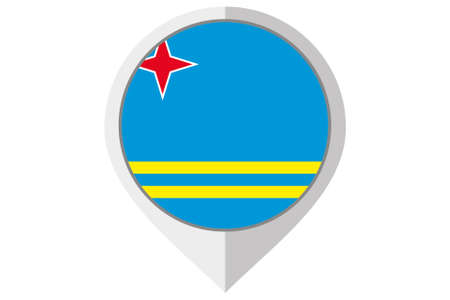 A Flag Illustration inside a pointed of the country of Aruba