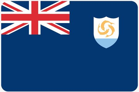 anguilla: A Flag Illustration with rounded corners of the country of Anguilla