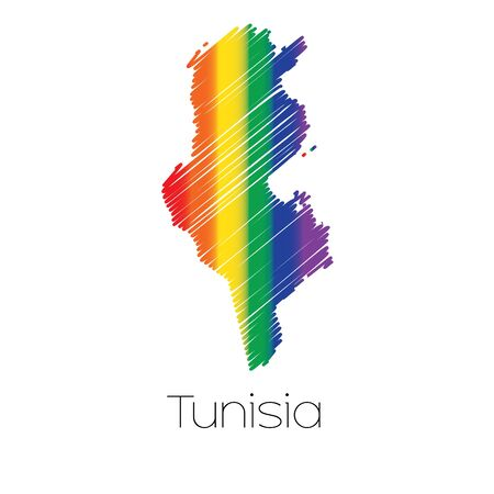 homosexual sex: An LGBT Coloured Scribbled Shape of the Country of Tunisia