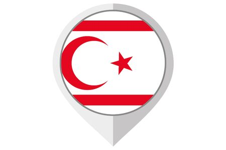 A Flag Illustration inside a pointed of the country of Northern Cyprus