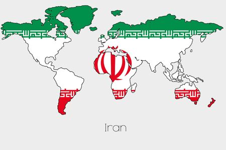 world flag: A Flag Illustration inside the shape of a world map of the country of  Iran