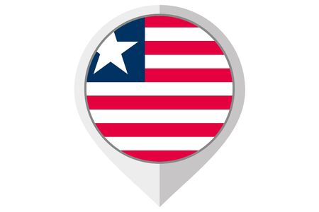 A Flag Illustration inside a pointed of the country of Liberia