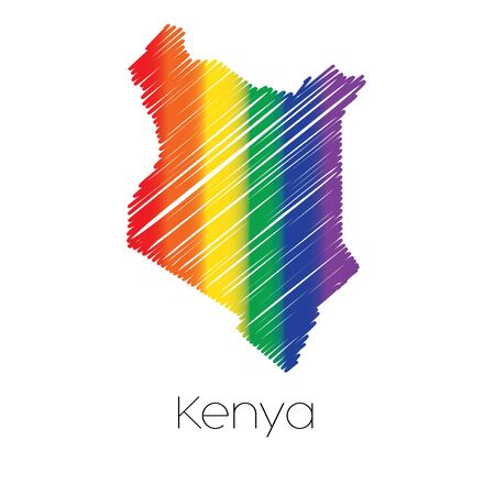 homosexual sex: An LGBT Coloured Scribbled Shape of the Country of Kenya