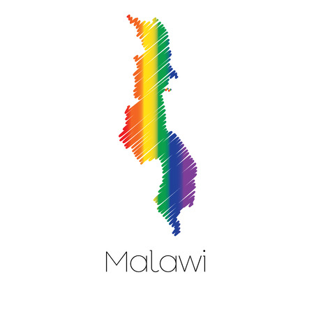 homosexual sex: An LGBT Coloured Scribbled Shape of the Country of Malawi
