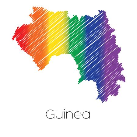 homosexual sex: An LGBT Coloured Scribbled Shape of the Country of Guinea