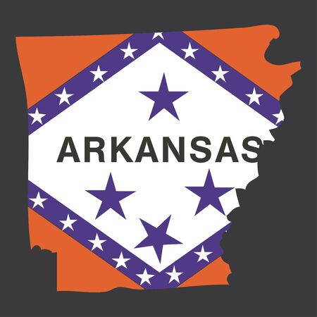 arkansas state map: Highly detailed map with flag inside of the state of Arkansas Stock Photo