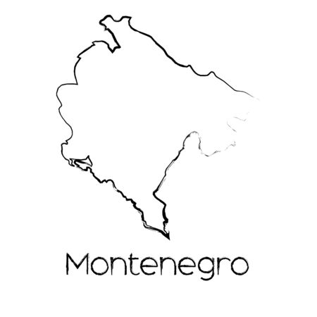 A Scribbled Shape of the Country of Montenegro