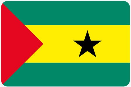 tome: A Flag Illustration with rounded corners of the country of Sao Tome E Principe Stock Photo
