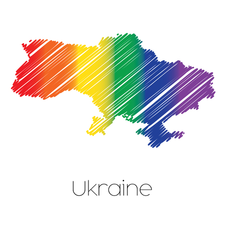 homosexual sex: An LGBT Coloured Scribbled Shape of the Country of Ukraine Stock Photo