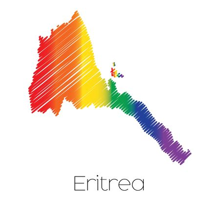 homosexual sex: An LGBT Coloured Scribbled Shape of the Country of Eritrea Stock Photo