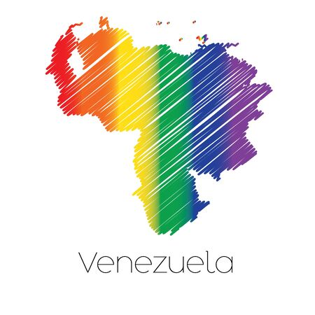 homosexual sex: An LGBT Coloured Scribbled Shape of the Country of Venezuela