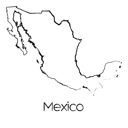 scribbled: A Scribbled Shape of the Country of Mexico