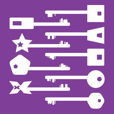 old keys: Illustrated Set of modern keys, decorative old keys
