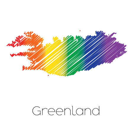 homosexual sex: An LGBT Coloured Scribbled Shape of the Country of Greenland