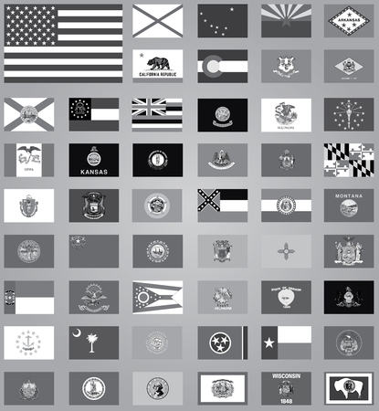 usa flags: An Illustration of the flags of the United States in grayscale Stock Photo