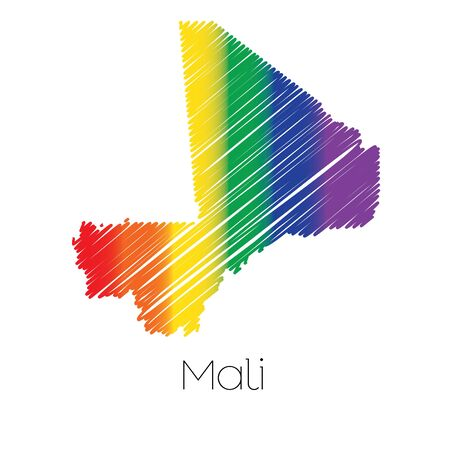 homosexual sex: An LGBT Coloured Scribbled Shape of the Country of Mali Stock Photo