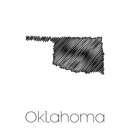 scribbled: A Scribbled shape of the State of Oklahoma Stock Photo